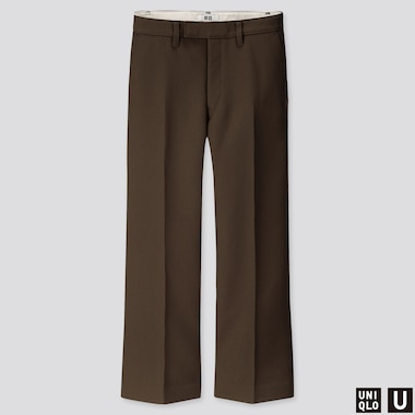 WOMEN U WOOL-BLEND FLARE PANTS, DARK BROWN, medium