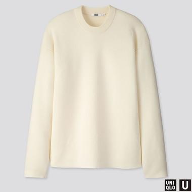 Men U Milano Ribbed Crew Neck Long-Sleeve Sweater, Off White, Medium