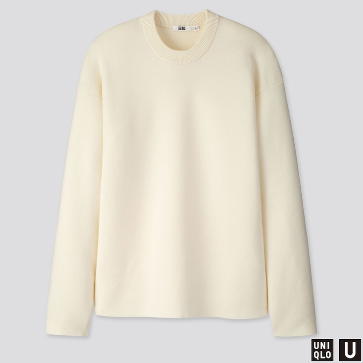 MEN U MILANO RIBBED CREW NECK LONG-SLEEVE SWEATER, OFF WHITE, large
