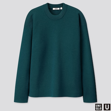 MEN U MILANO RIBBED CREW NECK LONG-SLEEVE SWEATER, GREEN, medium