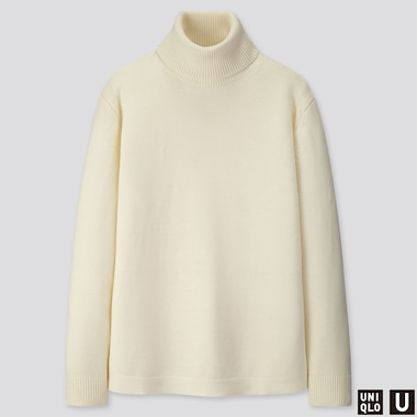 MEN U MERINO-BLEND TURTLENECK LONG-SLEEVE SWEATER, OFF WHITE, medium