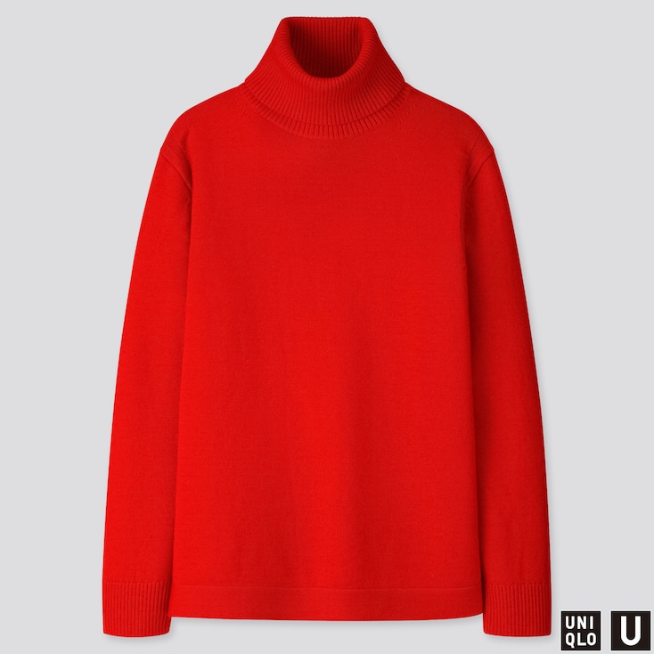 MEN U MERINO-BLEND TURTLENECK LONG-SLEEVE SWEATER, RED, large
