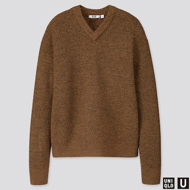 MEN U MELANGE V-NECK LONG-SLEEVE SWEATER, BROWN, medium