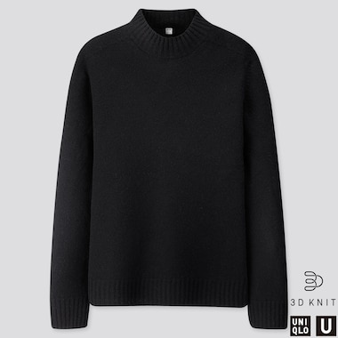 MEN U 3D PREMIUM LAMBSWOOL MOCK NECK SWEATER, BLACK, medium