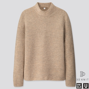 MEN U 3D PREMIUM LAMBSWOOL MOCK NECK SWEATER, NATURAL, medium