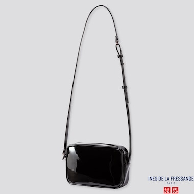 WOMEN ENAMEL SHOULDER BAG (INES DE LA FRESSANGE), BLACK, medium