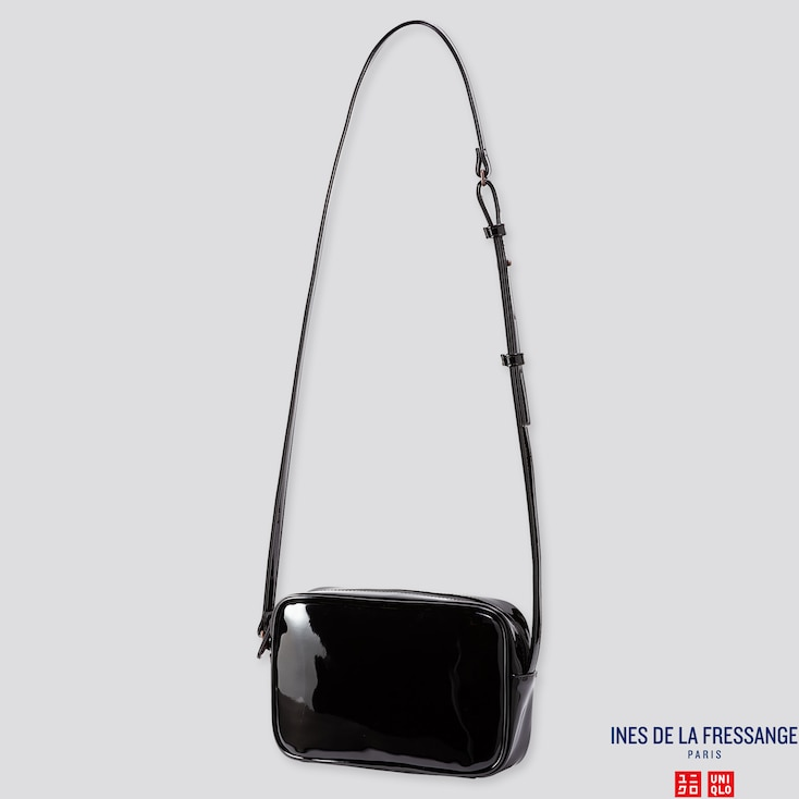 WOMEN ENAMEL SHOULDER BAG (INES DE LA FRESSANGE), BLACK, large