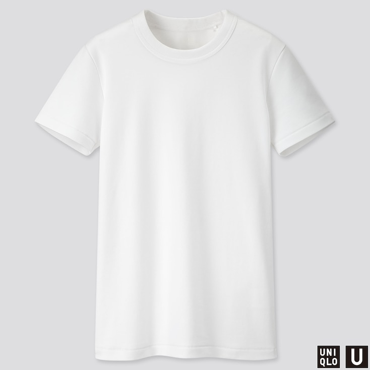 WOMEN U CREW NECK SHORT-SLEEVE T-SHIRT, WHITE, large