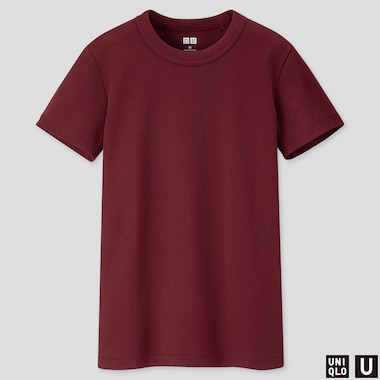 Women U Crew Neck Short-Sleeve T-Shirt, Wine, Medium