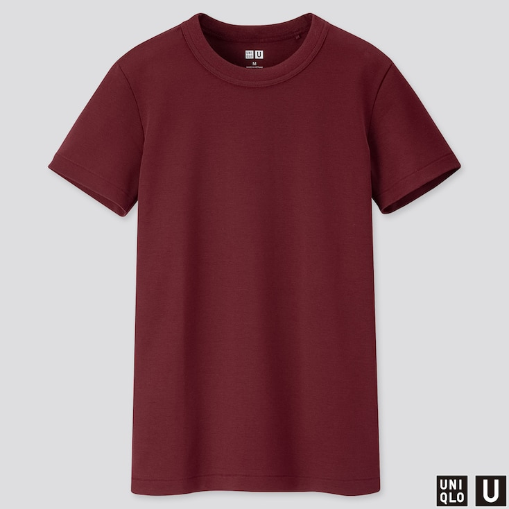 Women U Crew Neck Short-Sleeve T-Shirt, Wine, Large