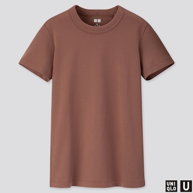 WOMEN U CREW NECK SHORT-SLEEVE T-SHIRT, BROWN, medium
