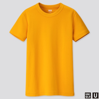 WOMEN U CREW NECK SHORT-SLEEVE T-SHIRT, YELLOW, medium