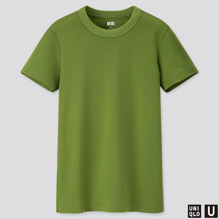 WOMEN U CREW NECK SHORT-SLEEVE T-SHIRT, GREEN, large