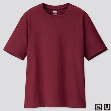 WOMEN U RELAX FIT CREW NECK SHORT-SLEEVE T-SHIRT, WINE, medium