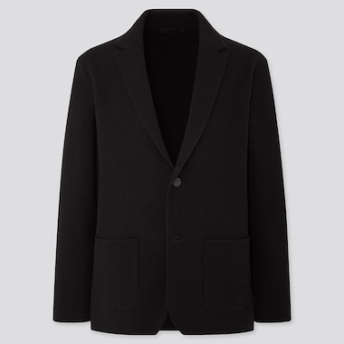 MEN WOOL-BLEND KNIT JACKET, BLACK, medium