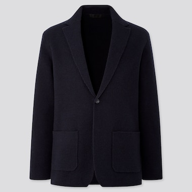 MEN WOOL-BLEND KNIT JACKET, NAVY, medium