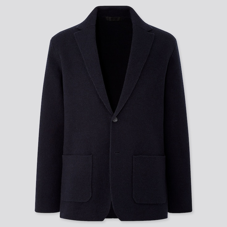 MEN WOOL-BLEND KNIT JACKET, NAVY, large