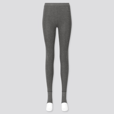 WOMEN HEATTECH EXTRA WARM PILE-LINED STIRRUP LEGGINGS, GRAY, medium