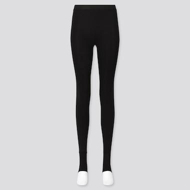 Women Heattech Extra Warm Pile-Lined Stirrup Leggings, Black, Medium