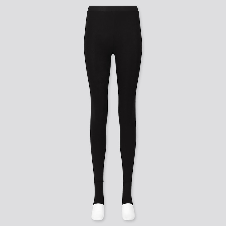 Women Heattech Extra Warm Pile-Lined Stirrup Leggings, Black, Large
