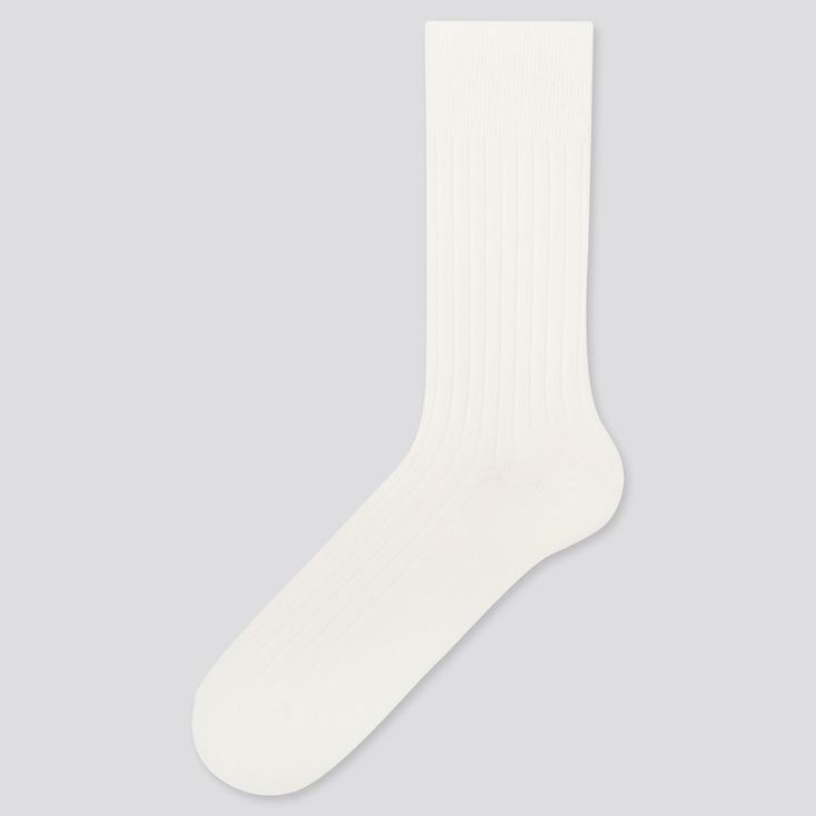 MEN HEATTECH WIDE-RIBBED SOCKS, OFF WHITE, large