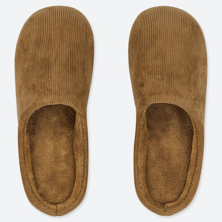 CORDUROY SLIPPERS, BROWN, large