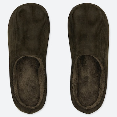 CORDUROY SLIPPERS, DARK GREEN, medium