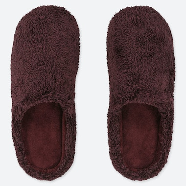 FLUFFY YARN FLEECE SLIPPERS, WINE, medium