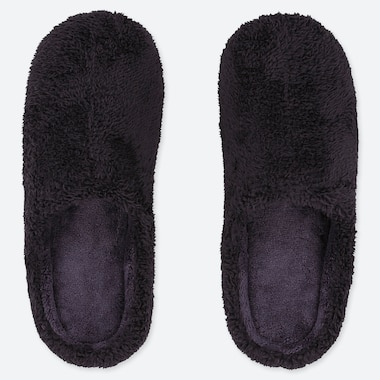 FLUFFY YARN FLEECE SLIPPERS, NAVY, medium