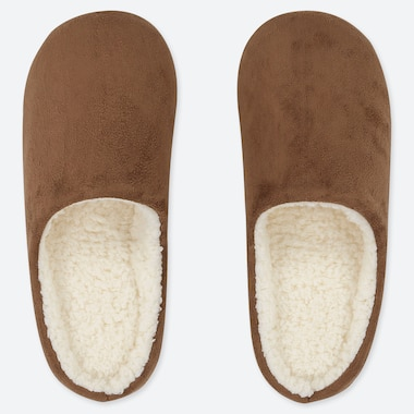 PILE-LINED FAUX SLIPPERS, BROWN, medium