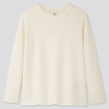 KIDS SOFT KNITTED FLEECE CREW NECK T-SHIRT, OFF WHITE, medium