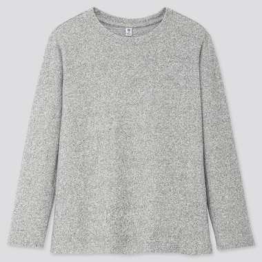 KIDS SOFT KNITTED FLEECE CREW NECK T-SHIRT, GRAY, medium