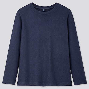 KIDS SOFT KNITTED FLEECE CREW NECK T-SHIRT, BLUE, medium