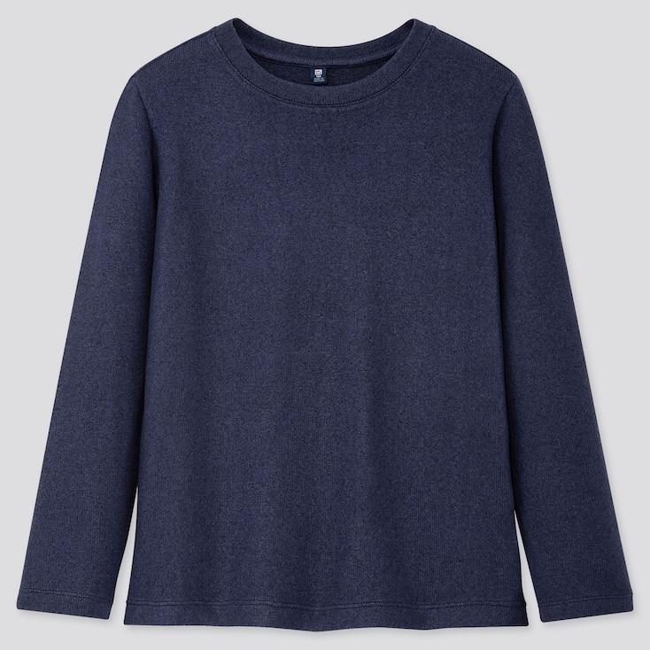 KIDS SOFT KNITTED FLEECE CREW NECK T-SHIRT, BLUE, large
