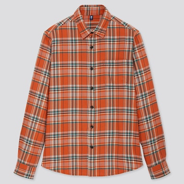 Kids Flannel Checked Long-Sleeve Shirt, Orange, Medium