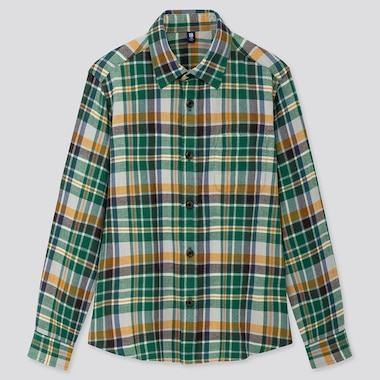KIDS FLANNEL CHECKED LONG-SLEEVE SHIRT, GREEN, medium