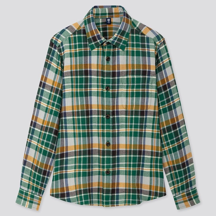 Kids Flannel Checked Long-sleeve Shirt, Green, Large