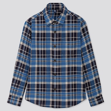 Kids Flannel Checked Long-Sleeve Shirt, Blue, Medium