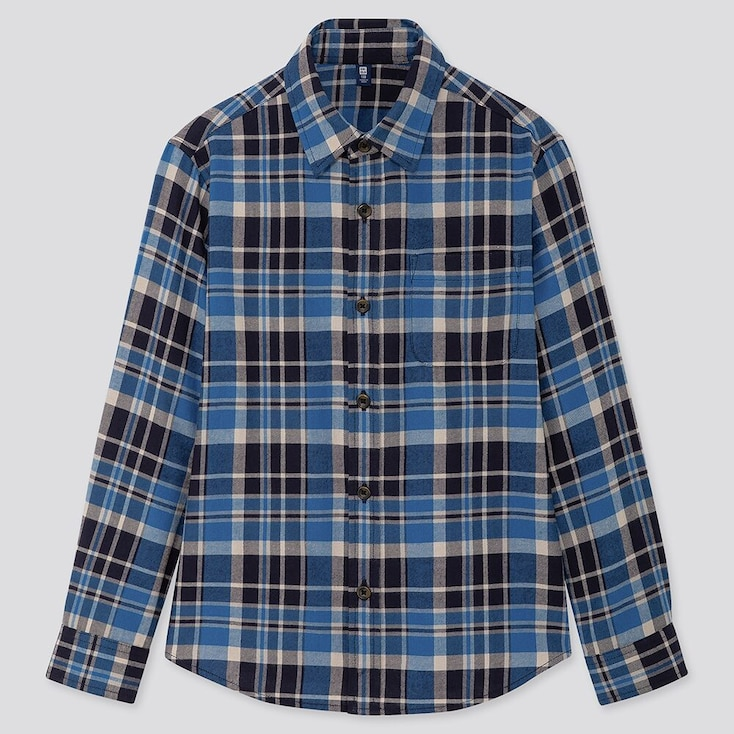 Kids Flannel Checked Long-sleeve Shirt, Blue, Large