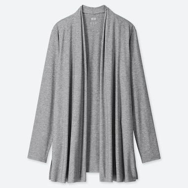 WOMEN AIRism UV CUT SEAMLESS STOLE CARDIGAN, GRAY, medium