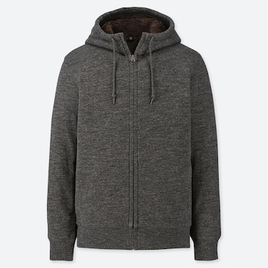 Men Pile-Lined Sweat Long-Sleeve Full-Zip Hoodie, Dark Gray, Medium