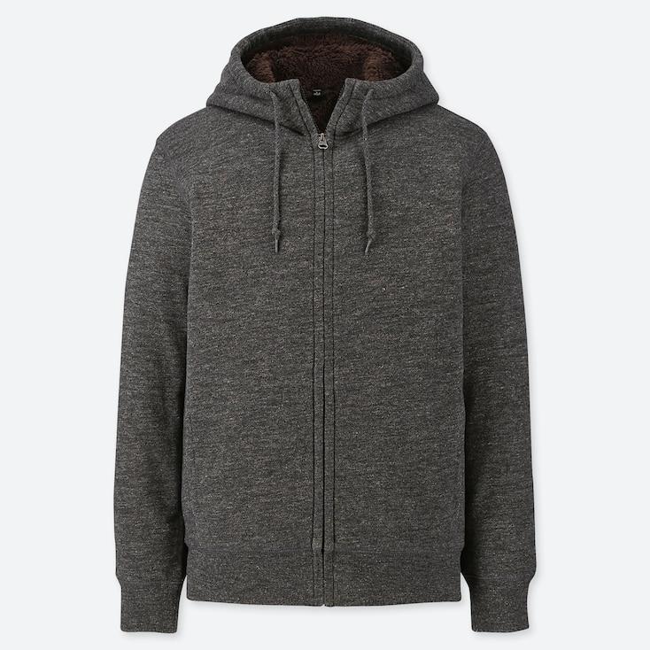 Men Pile-Lined Sweat Long-Sleeve Full-Zip Hoodie, Dark Gray, Large