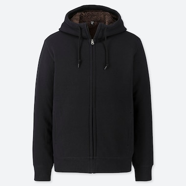 Men Pile-Lined Sweat Long-Sleeve Full-Zip Hoodie, Black, Medium