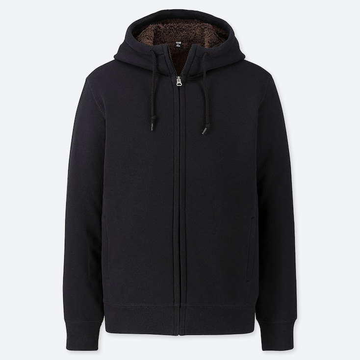 MEN PILE-LINED SWEAT LONG-SLEEVE FULL-ZIP HOODIE, BLACK, large