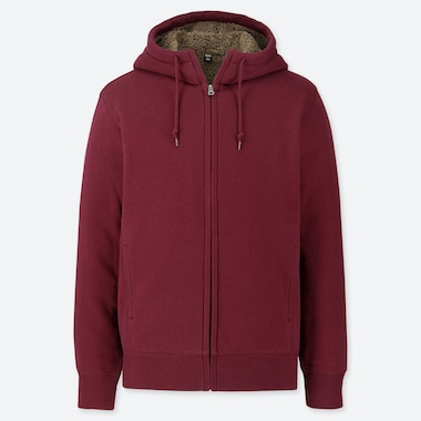 Men Pile-Lined Sweat Long-Sleeve Full-Zip Hoodie, Wine, Medium