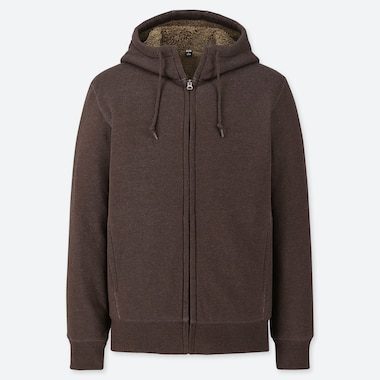 MEN PILE-LINED SWEAT LONG-SLEEVE FULL-ZIP HOODIE, BROWN, medium