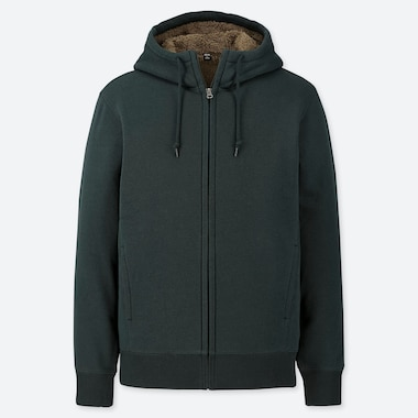 MEN PILE-LINED SWEAT LONG-SLEEVE FULL-ZIP HOODIE, DARK GREEN, medium