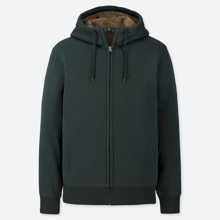MEN PILE-LINED SWEAT LONG-SLEEVE FULL-ZIP HOODIE, DARK GREEN, large