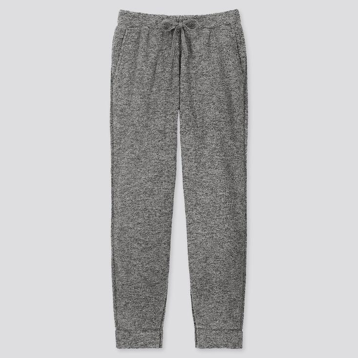 Men Fluffy Yarn Fleece Easy Pants, Gray, Large