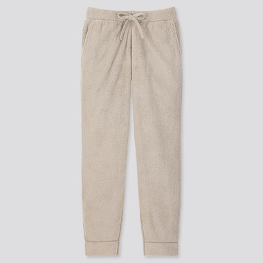 MEN FLUFFY YARN FLEECE EASY PANTS, BEIGE, medium
